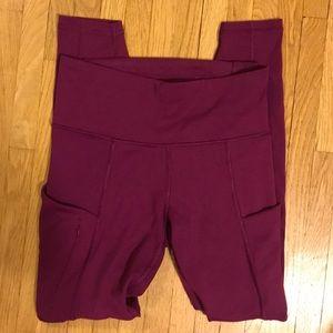 Athleta XS berry colored compression leggings.